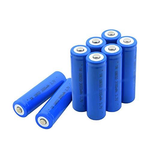 MNJKH 18650 Batería De Litio De 3.7 v 3000 Mah, Carga De BateríAs Recargables De Punta Azul CéLula De Iones De Litio para Linterna 8pcs