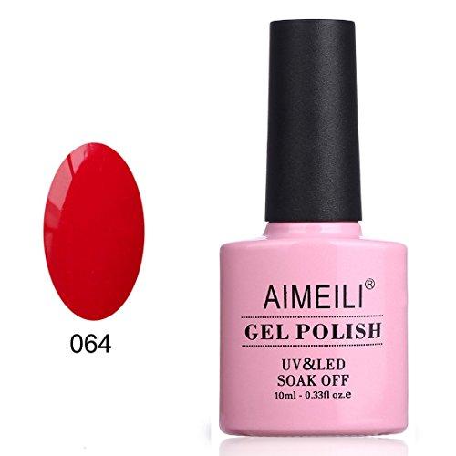 AIMEILI Smalto Semipermente per Unghie in Gel UV LED Smalti per Unghie Colori per Manicure Soak Off Rosso - Pillar Box Red (064) 10ml