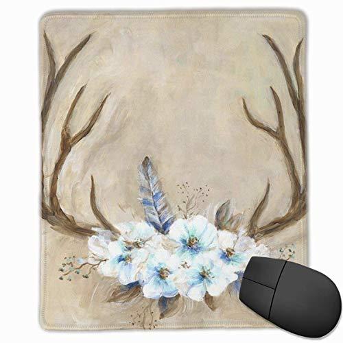 Gaming Mouse Pad, personalisierte benutzerdefinierte Maus Padnon-Slip Gummi Gaming Mouse Pad, bleiben Sie positiv, arbeiten Sie hart und lassen Sie es passieren Geweih und Blumen