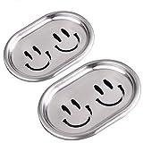 Kaxich 2 Stück Seifenschale, 304 Edelstahl Seifenhalter mit Lächelndes Gesicht, Doppelte Schichten...