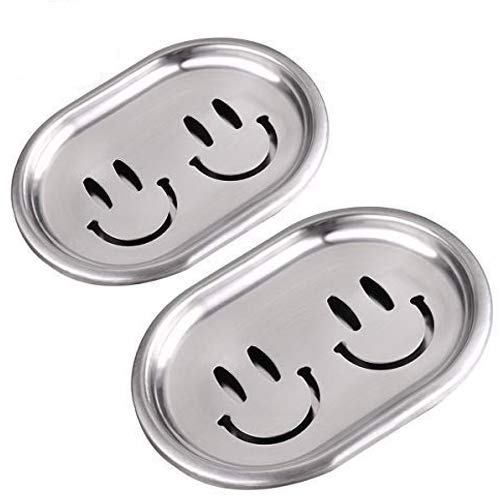 Kaxich Jabonera de acero inoxidable, 2 unidades, con cara sonriente, escurridor de jabón de doble capa, esponjas, bandeja de almacenamiento para baño y cocina
