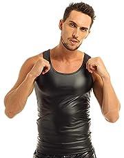 KHDFYER Látex Tops De Lencería De Moto para Hombre para Ropa De Fiesta De Noche Camiseta Interior De Clubwear