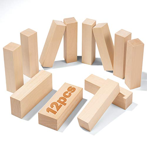 Bloques de Talla de Madera Yangbaga 12pcs Kit de Talla de Madera, para Tallar Madera kit de Hobby para Adultos para Niños Dos tamaños
