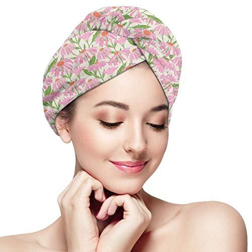 HomeLEE Quick Dry Haar Wrap Handdoeken Turban, Botanische Patroon Met Echinacea Bloemen Stammen En Bladeren Roze Tuinieren Planten, Absorbens Douchekap