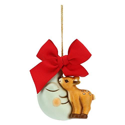 THUN - Addobbo Cerbiatto con Luna per Albero di Natale - Formato Grande - Ceramica - Linea Preludio dinverno - 6x6,3x3,8 cm