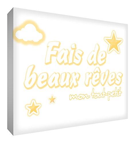 Feel Good Art Toile sur Cadre Fais de Beaux Rêves mon Tout Petit Jaune 30 X 20 cm