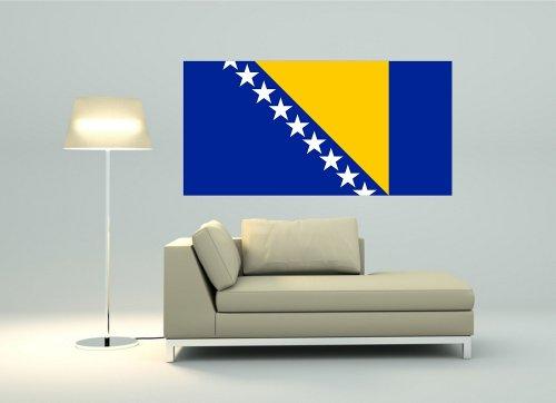 Kiwistar Wandtattoo Sticker Fahne Flagge Aufkleber Bosnien & Herzegowina 80 x 40cm