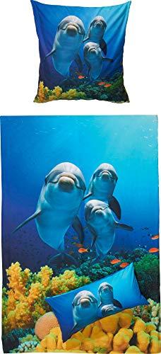 Erwin Müller Kinder-Bettwäsche, Bettgarnitur Delfine, Unterwasserwelt Renforcé blau Größe 135x200 cm (80x80 cm) - strapazierstark, weich und anschmiegsam mit praktischem Reißverschluss