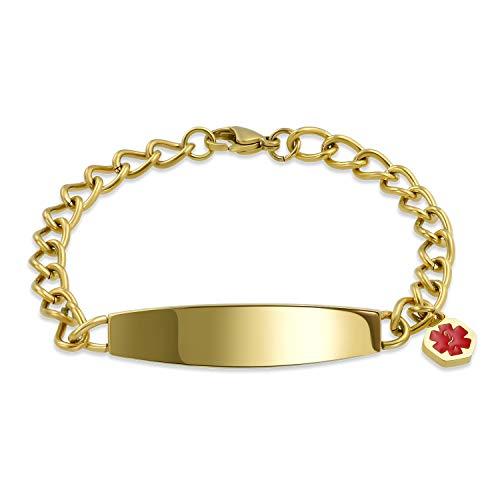 Bling Jewelry Etiqueta de identificación médico Alerta ID Pulsera grabable Cadena de Curva para Mujeres Hombres Oro Plateado Acero Inoxidable