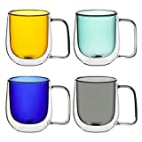 COMOOO Mixed Color Glass Coffee Mugs 10oz Set of 4 - Double Walled Insulated Drinking Glassware Coffe Cups with Handle for Cold and Hot Espresso,Coffee,Latte,Tea, Gift for Her, Friend