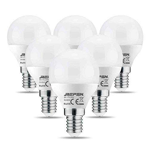 REPSN Lampadina a LED E27, 8 W = 60 W, luce bianca calda, 2700 K, confezione da 6 lampadine G45, 700 lumen, a risparmio energetico, 270°, lampadina a incandescenza da 8 Watt, P45-8W-E14