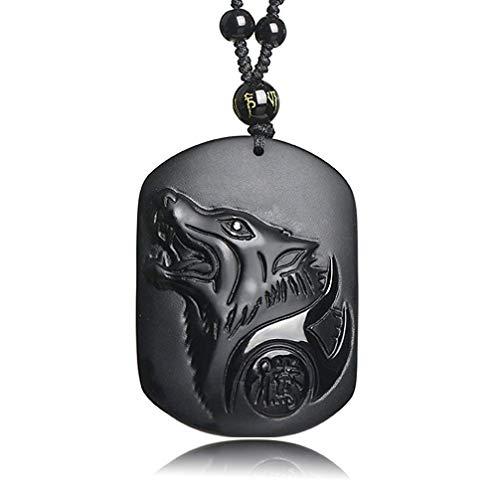 Htulip Collar Obsidiana con Colgante de Tótem de Lobo Amuleto Colgante Collar para Hombres Mujeres