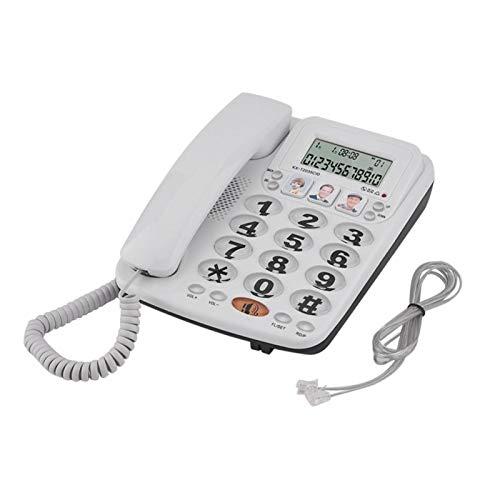 2 líneas de último número de rellamada Marcación rápida Teléfono con Cable clásico, teléfono Fijo, con Altavoz para Oficina en casa con función de identificación de Llamadas