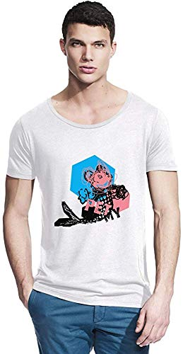 NR Zeus Micley muis vis huisdier pop kunst bamboe brede hals T-Shirt