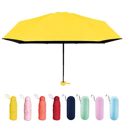 折り畳み傘 日傘 uvカット 晴雨兼用 超軽量 超撥水 超小型 携帯しやすい 遮光遮熱 耐強風 梅雨対策 ジッパーケース付き レディース (イェロー)