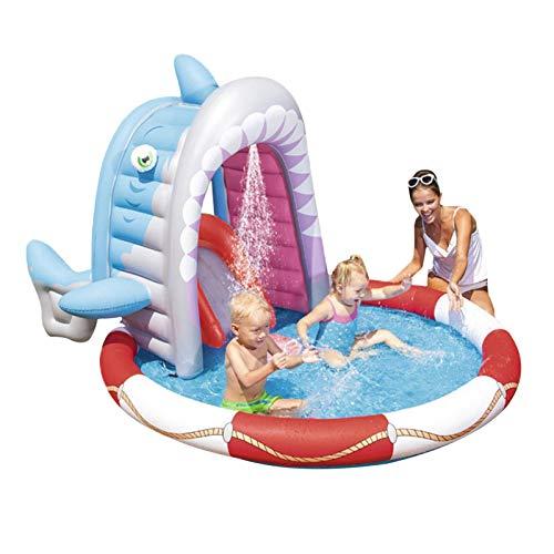 Cowslip Piscina hinchable para niños, de PVC, con tiburón, resistente al desgaste, para bebés, niños, 236 x 198 x 140 cm