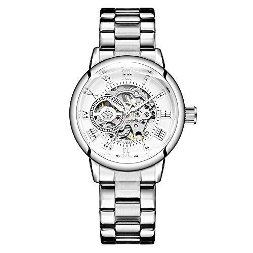 Reloj Automático Máquina Esqueleto Mecánico y cómoda Pulsera de Acero para Mujer (Plateado)