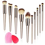 10PCS Makeup Brush Set, Premium Synthetic Foundation Brush Blending Face Powder Blush Concealers Eye Shadows Make Up Brushes Kit with Blender Sponge and Brush Cleaner (10+2pcs, Champagne Gold)