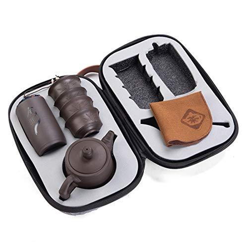 XNJHMS Purple Clay Teapot 230 ml Chinese Porcelain Yixing Zisha Teapot 4 Cups Travel Tea Cup Handmade Tea Pot Cup Set