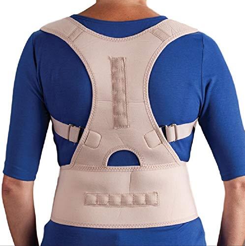 Ducomi Extreme Active Posture Tutore Schiena Posturale Regolabile Fascia Magnetica, Bretella Uomo Donna Supporto Sostegno Correttivo 12 Magneti 800 Gauss, Migliora Postura Dolore (Beige, XXL)