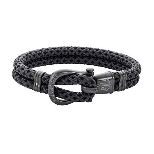 PAUL HEWITT Schäkel Armband Herren PHINITY - Nylon Armband Männer (Schwarz-Grau), Armband Herren mit Schäkel Verschluss aus IP-Edelstahl (Gun Metal)