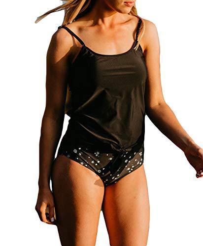 Supplydaily Women's Blouson Tankini Swimsuit 2 Piece Striped Beachwear Tie Knot Front High Waist Swimwear (XL, Black)