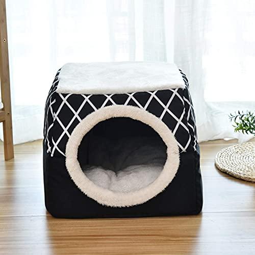 FHKBQ Cama para gato, cama para cueva, cama para mascotas Cat Igloo 2 en 1 al aire libre e interior nido de gato/gato condominio y casa de gato cerrado cubo cama acogedora, B y L