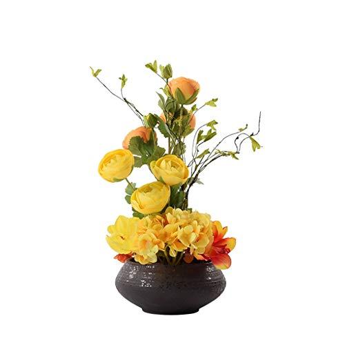 WGGTX Desktop-Handwerk Simulation Blumenarrangements Blumen-Set Vase TV Schrank Wohnzimmer Eingang Dekoration Künstliche Blumen Bonsai-Fälschungs-Topfpflanzen Indoor Büroschreibtisch