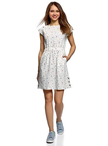 oodji Ultra Damen Leinen-Kleid mit Kurzen Angeschnittenen Ärmeln, Weiß, DE 36 / EU 38 / S