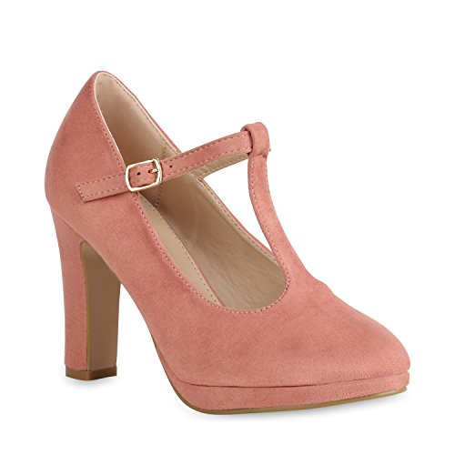 Damen Pumps Mary Janes T-Strap High Heels Elegante Party Schuhe Rosa Velours 37 Flandell