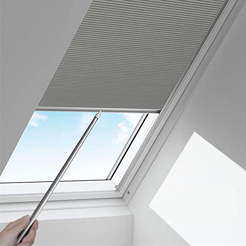 Manual Pattern Cellular Shades Cordless Honeycomb Blinds Full Blackout Fabric Window Shades for Skylight (Light Grey)