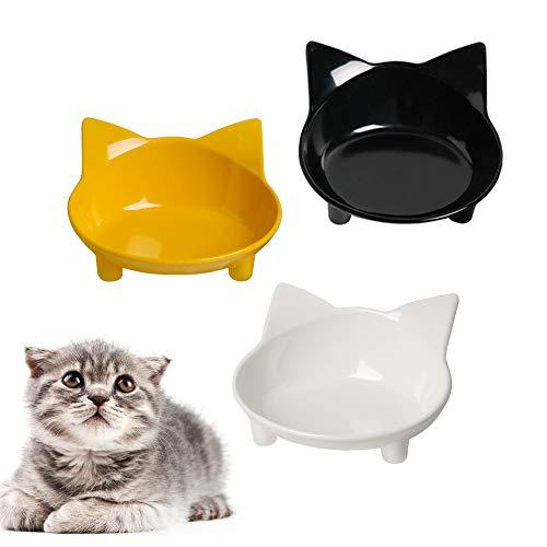 SKRTUAN Katzennäpfe, 3 Stück Futternapf Katze, Futternapf Katze Set, rutschfeste Katzenschale, Futterschüssel Katze, Wasser Fütterung Schüssel, Fressnapf Katze zur Erleichterung von Whisker-Müdigkeit