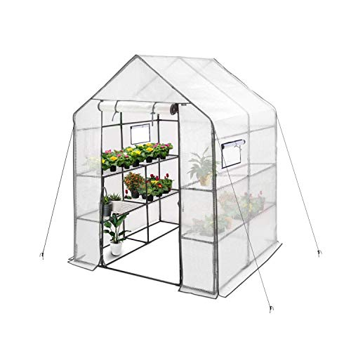"""Deluxe Green House 56"""" W x 56"""" D x 77"""" H,Walk in Outdoor Plant Gardening Greenhouse 2 Tiers 8 Shelves - Window and Anchors Include(White)"""