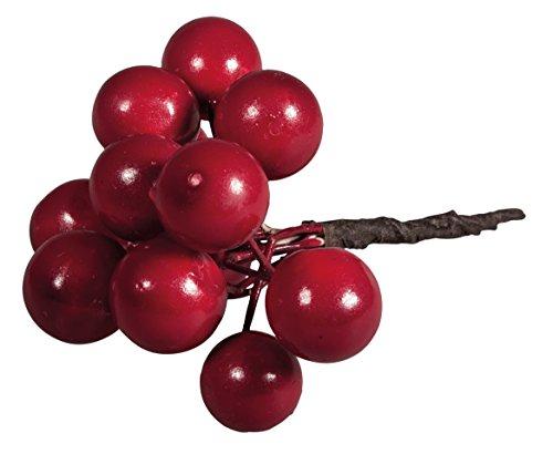 Rayher 55816000 Deko-Beeren rot, Länge 9 cm, 12 Stück