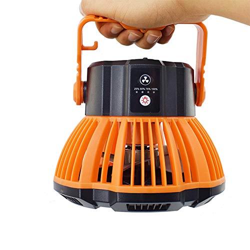 Ventilador de camping con linterna de camping, portátil recargable LED con luces LED con control remoto para exteriores, camping, hogar, oficina