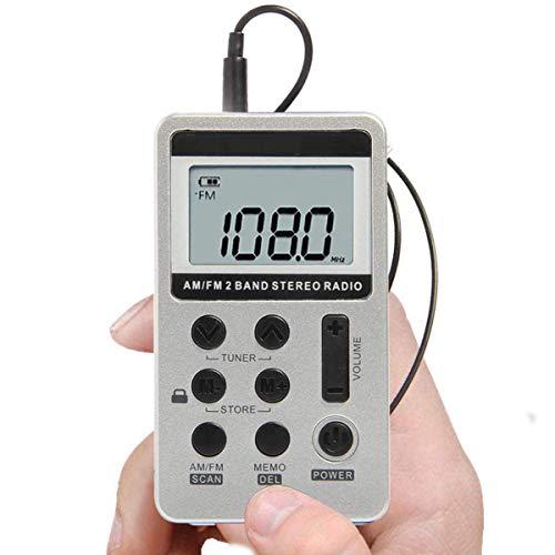 Radio de Bolsillo ZEERKEER, Mini sintonización Digital portátil Radio estéreo Am FM con Pantalla LCD de batería Recargable y Auriculares