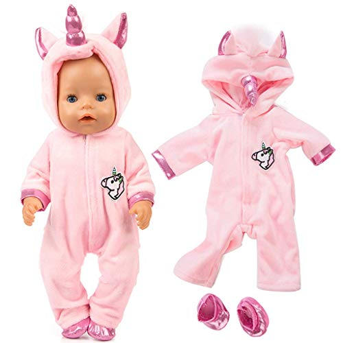 Amycute Einhorn Puppenkleidung für 43cm American Babypuppe Girl, Unicorn Kleidung Outfits Puppenkleidung Kostüm, American Girl Doll Stehpuppen Puppenbekleidung. (Rose)