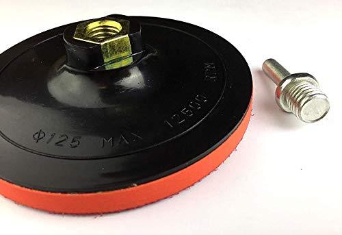 Schleifteller mit Klett M14 125mm inkl. Spanndorn für Bohrmaschine/Winkelschleifer