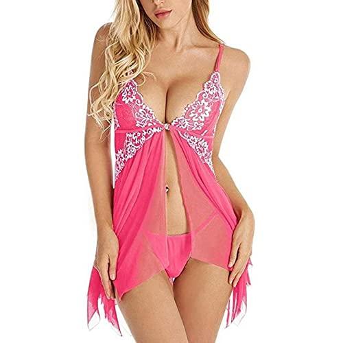 YQHWLKJ Mujeres Lencería Sexy Ropa Interior Vestido erótico Pijamas de Encaje Ropa de Dormir Camisón Tanga Disfraces Sexy-H, M