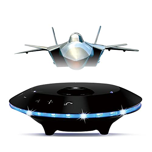 Magnetic Levitating Speaker of Aircraft Model,Wireless Portable Bluetooth Speaker, Airlines Floating Speaker 5.0 LED Flash 360 Rotation 3D Sound Quality with Microphone and Touch Buttons