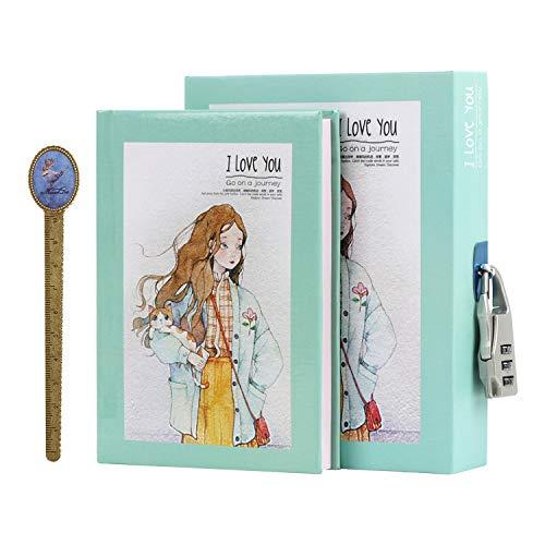 Cuaderno secreto, cuaderno de candado para niña, cuaderno de viaje con tapa rígida, bloc de notas con cerradura de combinación para niños, bloc de notas con regla de marco, regalo