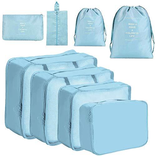 Meowoo Organizer Valigia Set di 8 Organizzatori da Viaggio, Bagagli Imballaggio Sacchetti Organizer per Valigia per Vestiti, Cosmetici, Scarpe, Intimo - (Blu)