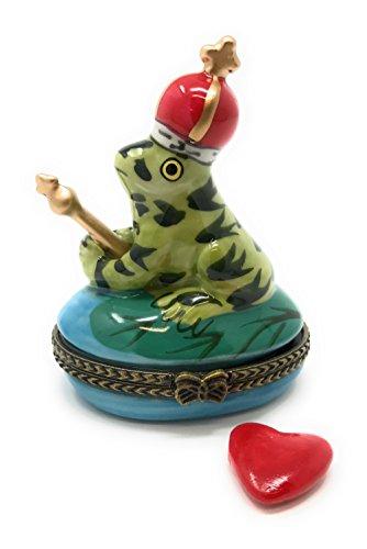Porzellan King der Teich Frosch aufklappbaren Deckel Schmuckkästchen mit Tiny Schmuckkästchen Innen, by artgifts, 2.5T
