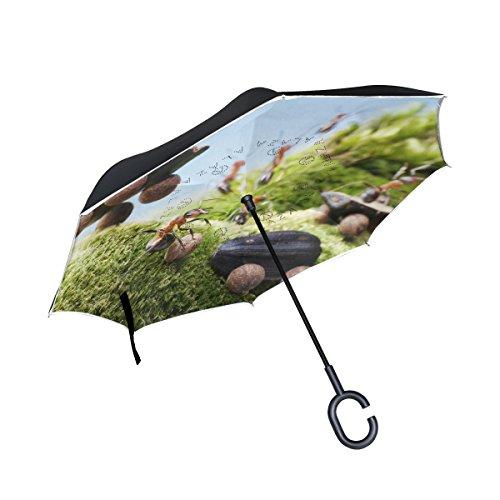 XiangHeFu Double Layer seitenverkehrt Rückseite Regenschirme Auto Crash am Falten, Ameisen Races Tales Winddicht UV-Schutz Big Gerade für Auto mit C-Förmigem Henkel