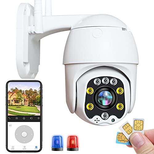 IP Cámara de Vigilancia Exterior 3G/4G SIM HD 1080P Detección de Movimiento Cámara PTZ Exterior Notificación de inserción Visión Nocturna en Color HD,Impermeable IP66,Audio Bidireccional 【Cámara+64G】