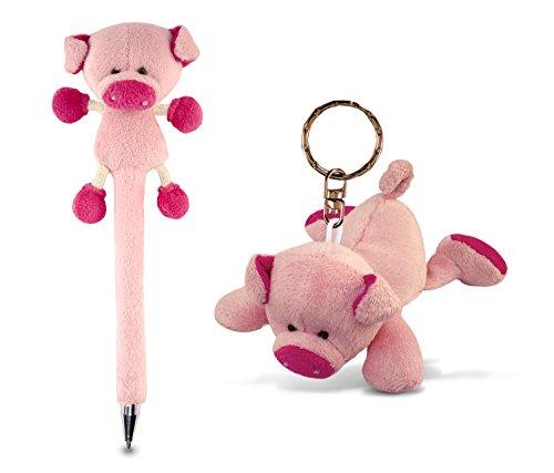 Puzzled Pink Plush Pig Keychain & Pet Set Soft & Cute Mini Stuffed Toy Decoration Charm Bag Key Organizer  Ballpoint Plushie Writing Accessory Novelty Pens Farm Animals Themed School & Office Supplies