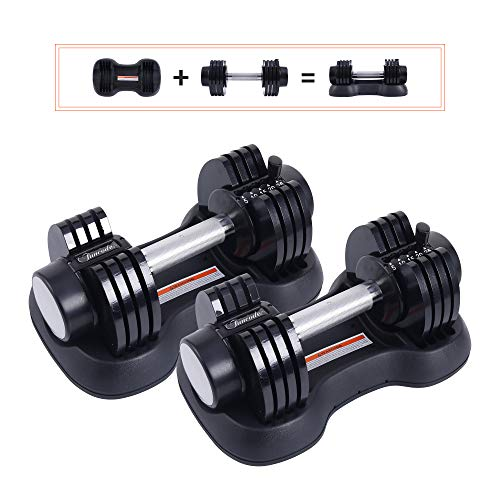 Funcode Adjustable Dumbbell 550Lbs Weight Options AntiSlip Hand AllPurpose Home Gym Office Pair