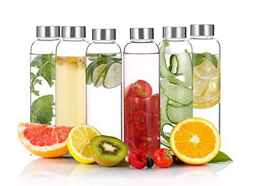Emica 6パック 18オンス/550ml ガラスウォーターボトル ステンレススチール蓋付き 屋外キャップ付きドリンクボトル 100%ホウケイ酸ガラス 自家製飲料/スムージー/バブルティー/フルーツジュースに最適
