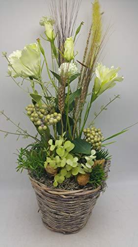 Blumengesteck Gesteck Sommergesteck Seidenblumen Mohn Beeren weiß