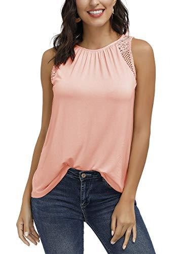 DOTIN Damen Sommer Top Ärmellose Blusentop Tank Top Elegant Weste Top Einfarbig Blumen Muster Spitzen Shirt, Orange, M